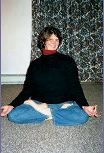 Photo of Barbara doing a yoga pose