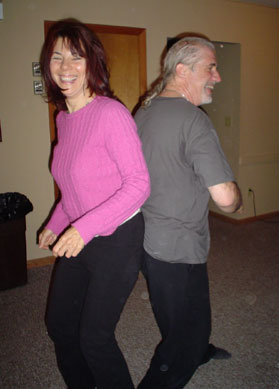 Photo of Claire and Dan inside smiling and having fun