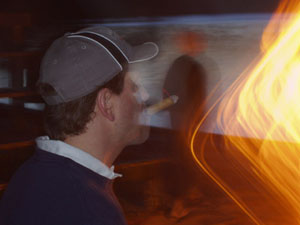 """Photo - """"Interesting Imagery"""" - firelight distorting the photo with glowing streams of light"""