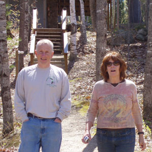 Photo of Jim S and Judith walking outside