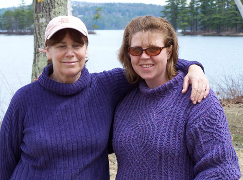 Photo close-up of Judith and Marcy, outside in front of the Lake