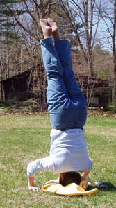 """Photo - """"Pat's got it!"""" - Pat doing a headstand un-aided."""