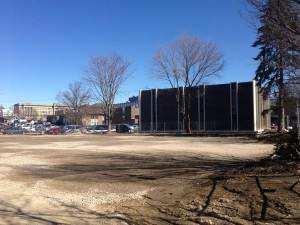 The cleared, cleaned and flattened dirt lot where the registry Building once stood.
