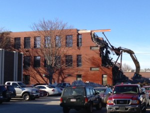 The walls of the Registry building starting to be demolished.