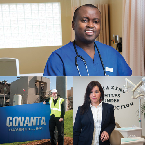 Three NECC students in various professional settings; in a Doctor's Office, on a Covanta work site, and in a business setting.